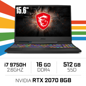"MSI GL65 9SFK-286XES Intel Core i7-9750H/16GB/512GB SSD/RTX 2070/15.6"" PC Portables Gamer MSI, Ultra Pc Gamer Maroc"