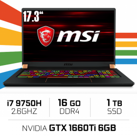 "MSI GS75 9SD-1039XES (STEALTH) Intel Core i7-9750H/16GB/1TB SSD/GTX 1660Ti/17.3"" PC Portables Gamer MSI, Ultra Pc Gamer Maroc"