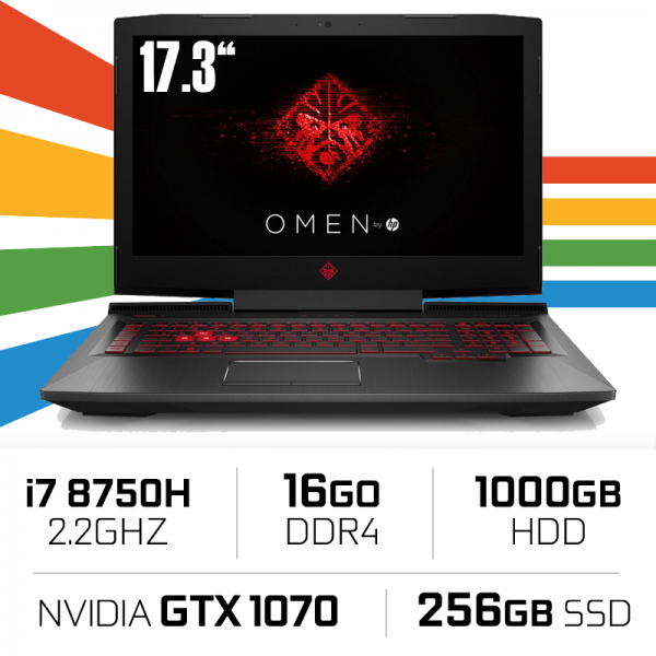 "HP OMEN 17-AN113NS Intel Core i7-8750H/16GB/1TB+256GB SSD/GTX 1070/17.3"" PC Portables Gamer OMEN by HP, Ultra Pc Gamer Maroc"