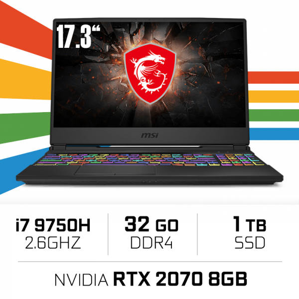 "MSI GE75 9SF-1204XES (RAIDER) Intel Core i7-9750H/32GB/1TB SSD/RTX 2070/17.3"" PC Portables Gamer MSI, Ultra Pc Gamer Maroc"