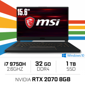 "MSI GS65 9SF-454ES (STEALTH) Intel Core i7-9750H/32GB/1TB SSD/RTX 2070/15.6"" PC Portables Gamer MSI, Ultra Pc Gamer Maroc"