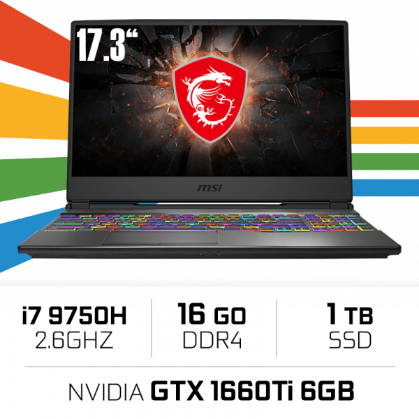 MSI GP75 9SD-451XES (LEOPARD) i7-9750H/16GB/1TB SSD/GTX1660Ti 6GB/17.3'' PC Portables Gamer MSI, Ultra Pc Gamer Maroc