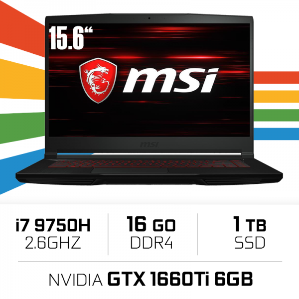 MSI GF65 Thin 9SD-038XES i7-9750H/16GB/1TB SSD/GTX1660Ti 6GB/15.6'' PC Portables Gamer MSI, Ultra Pc Gamer Maroc