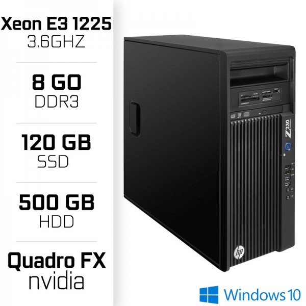 HP Z230 Workstation XEON E3-1225 V3 3.6GHz - 8Go - SSD 120GB - HDD 500GB PC Professionnels Hewlett-Packard, Ultra Pc Gamer Maroc