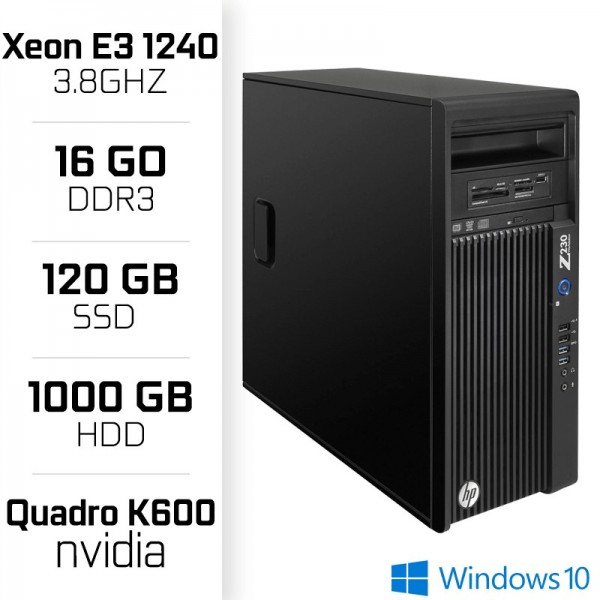 Z230 Workstation XEON E3-1240 V3 3.8GHz - 16Go - SSD 120GB - HDD 1000GB - Quadro k600 PC Professionnels Hewlett-Packard, Ultr...
