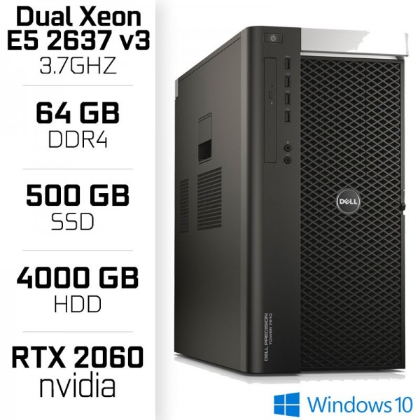 STATION DE TRAVAIL Dell Precision T7910 Tower Workstation - Intel Dual Xeon E5-2637 v3 - 64 Gb - Nvidia RTX 2060 PC Professio...
