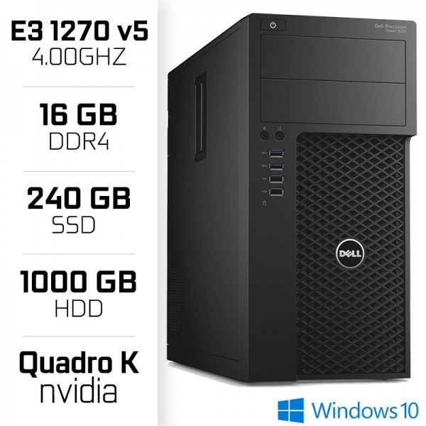STATION DE TRAVAIL Dell Precision 3620 Workstation XEON E3-1270V5  16GB  SSD 240GB  HDD 1TB  QUADRO K620 PC Professionnels De...