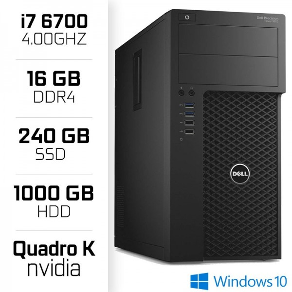STATION DE TRAVAIL Dell Precision 3620 Workstation XEON i7-6700  16GB  SSD 240GB  HDD 1TB  QUADRO K420 PC Professionnels Dell...