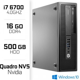 HP EliteDesk 800 G2 SFF - Intel Core i7-6700 - RAM 16 Go - HDD 500 GB - NVIDIA NVS PC Professionnels Hewlett-Packard, Ultra P...