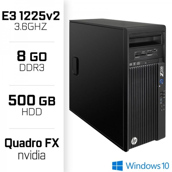 HP Z220 Workstation XEON E3-1225 V2 3.6GHz - 8Go - HDD 500GB - FX570 PC Professionnels Hewlett-Packard, Ultra Pc Gamer Maroc