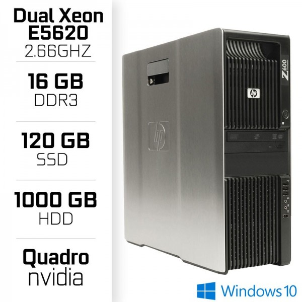 HP Z600 Workstation DUAL XEON E5620 + 16GB + SSD 120GB + HDD 1TB PC Professionnels Hewlett-Packard, Ultra Pc Gamer Maroc