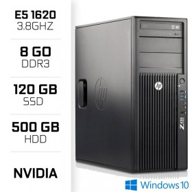 HP Z420 Workstation XEON E5-1620 3.8GHz - 8Go - SSD 120 - HDD 500GB PC Professionnels Hewlett-Packard, Ultra Pc Gamer Maroc