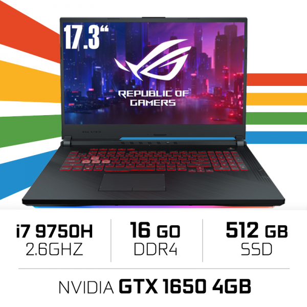 "ASUS ROG Strix G731GT-AU011T Intel i7-9750H/16GB/512GB SSD/GTX1650 4GB/17,3"" PC Portables Gamer ASUS, Ultra Pc Gamer Maroc"