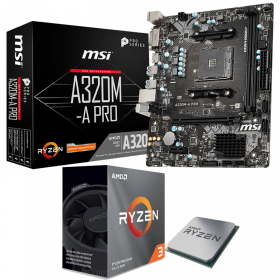 BUNDLE AMD Ryzen 3 3100 Wraith Stealth + MSI A320M-A PRO MAX Processeurs , Ultra Pc Gamer Maroc