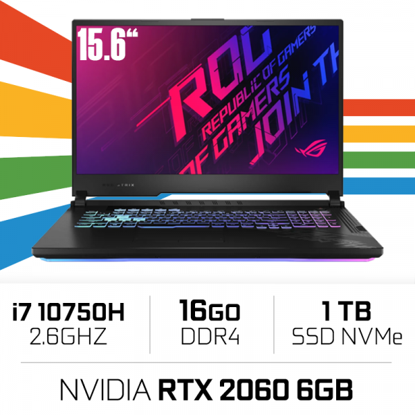 "Asus ROG G15 G512LV-HN090 Intel i7-10750H/16GB/1TB SSD/RTX2060/15.6"" 144hz PC Portables Gamer ASUS, Ultra Pc Gamer Maroc"