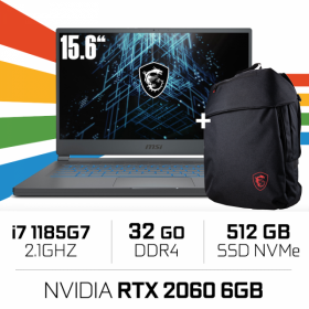 "MSI 15M A11SEK (STEALTH) Intel Core i7-1185G7/32GB/512GB SSD/RTX2060 MAX Q 6GB/15.6"" PC Portables Gamer MSI, Ultra Pc Gamer M..."