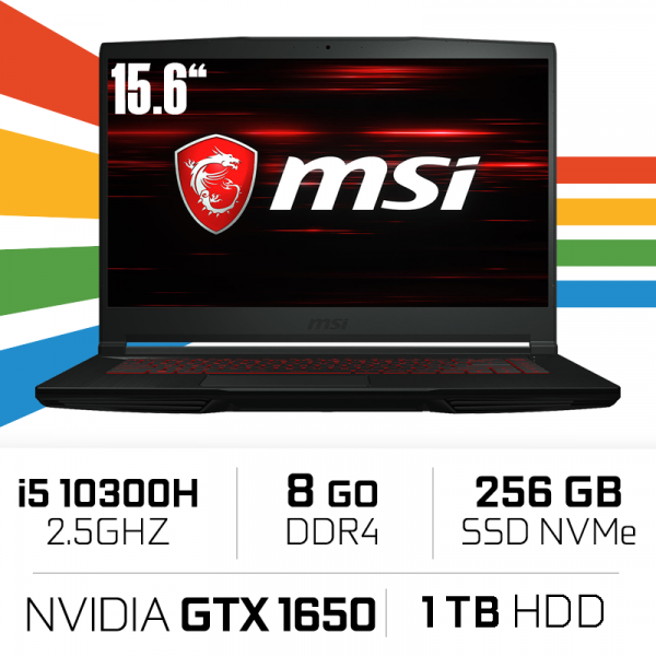 MSI GF63 10SCXR (THIN) i5-10300H/8GB/1TB HDD+ 256GB SSD/GTX1650 MAX Q 4GB/15.6'' PC Portables Gamer MSI, Ultra Pc Gamer Maroc
