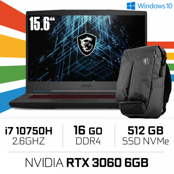 MSI GF65 Thin 10UE i7-10750H/16GB/512GB SSD/RTX3060 6GB/15.6'' 144Hz PC Portables Gamer MSI, Ultra Pc Gamer Maroc