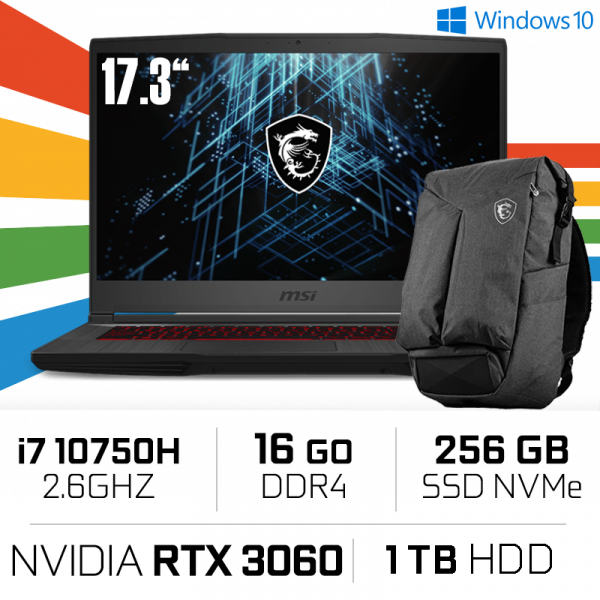MSI GF75 Thin 10UEK i7-10750H/16GB/256GB+1TB HDD/RTX3060 6GB/17.3'' 144Hz PC Portables Gamer MSI, Ultra Pc Gamer Maroc