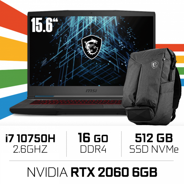 MSI GF65 10SER (Thin) i7-10750H/16GB/512GB SSD/RTX2060 6GB/15.6'' 144Hz PC Portables Gamer MSI, Ultra Pc Gamer Maroc