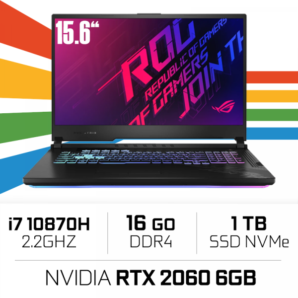 "Asus ROG G512L-HN221 Intel i7-10870H/16GB/1TB SSD/RTX2060/15.6"" 144hz PC Portables Gamer ASUS, Ultra Pc Gamer Maroc"