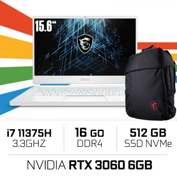 "MSI STEALTH 15M A11UEK i7-11375H/16GB/512GB SSD/RTX3060 6GB/15.6"" IPS PC Portables Gamer MSI, Ultra Pc Gamer Maroc"
