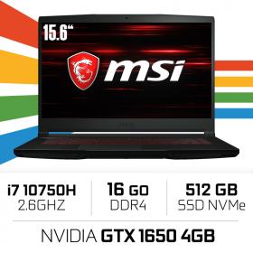 MSI GF63 10SCXR (THIN) i7-10750H/16GB/512GB SSD/GTX1650 MAX Q 4GB/15.6'' PC Portables Gamer MSI, Ultra Pc Gamer Maroc