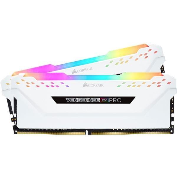 Corsair Vengeance RGB PRO Series Blanc 16Go (2x 8Go) DDR4 3200MHz CL16 Mémoire vive PC Corsair, Ultra Pc Gamer Maroc