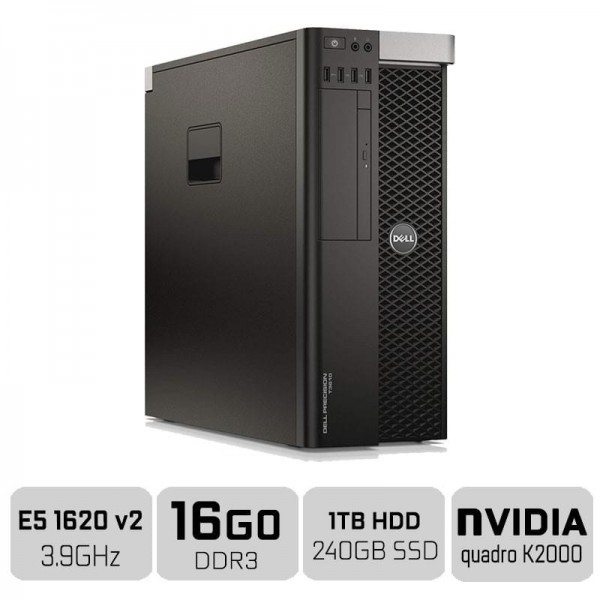 Dell Precision T3610 Workstation XEON E5-1620V2 + 16GB + SSD 250GB + HDD 1TB + QUADRO K2000 PC Professionnels Dell, Ultra Pc ...