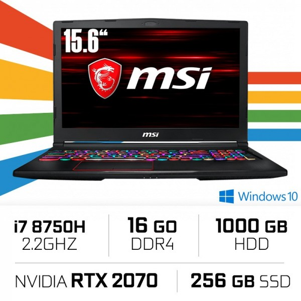 MSI GE63 8SF-030ES (RAIDER RGB) i7-8750H/16GB/1TB+256SSD/RTX2070 15.6'' Win10 PC Portables Gamer MSI, Ultra Pc Gamer Maroc