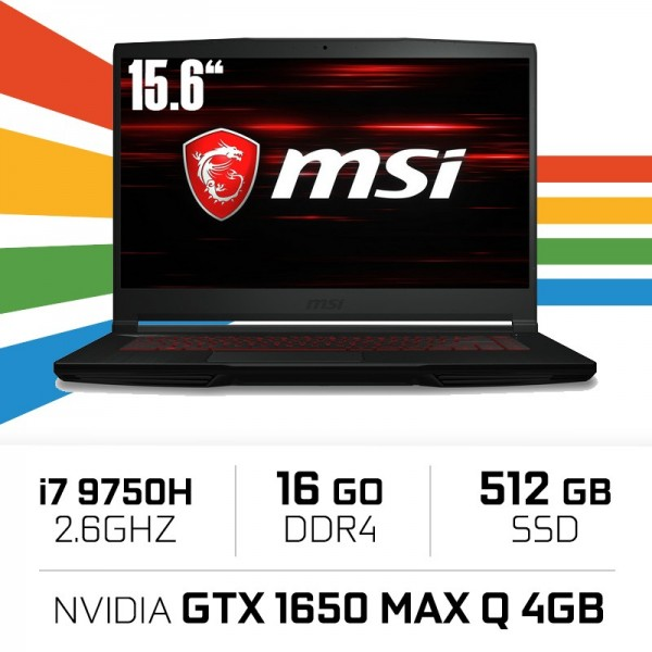 MSI GF63 9SC-047XES (THIN) i7-9750H/16GB/512SSD/GTX1650 4GB/15.6'' PC Portables Gamer MSI, Ultra Pc Gamer Maroc